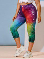 Plus Size Galaxy Print Rainbow Color Cropped Leggings -