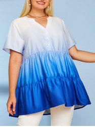 Button Front Tiered Ombre Plus Size Top -