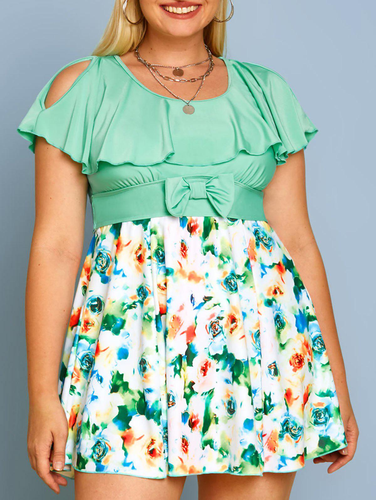 Affordable Plus Size Ruffled Floral Print Bowknot Two Piece Swimwear