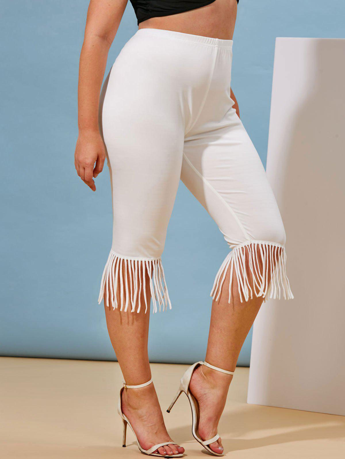 Online Plus Size Fringed High Waisted Cropped Leggings