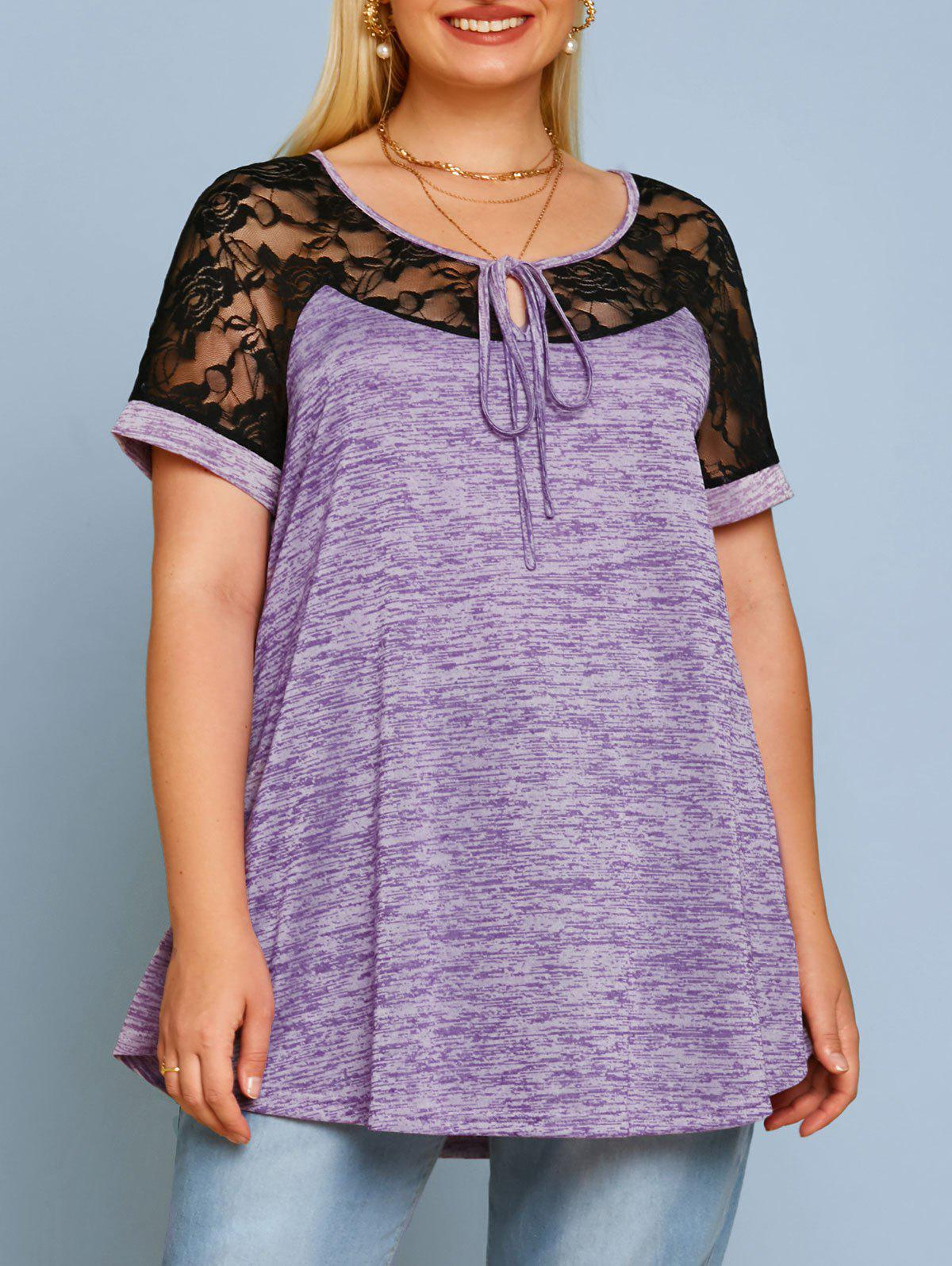 New Plus Size Space Dye Lace Panel Tee