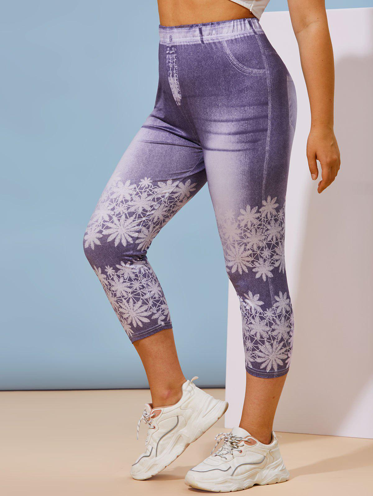 Trendy Plus Size 3D Print Cropped Jeggings