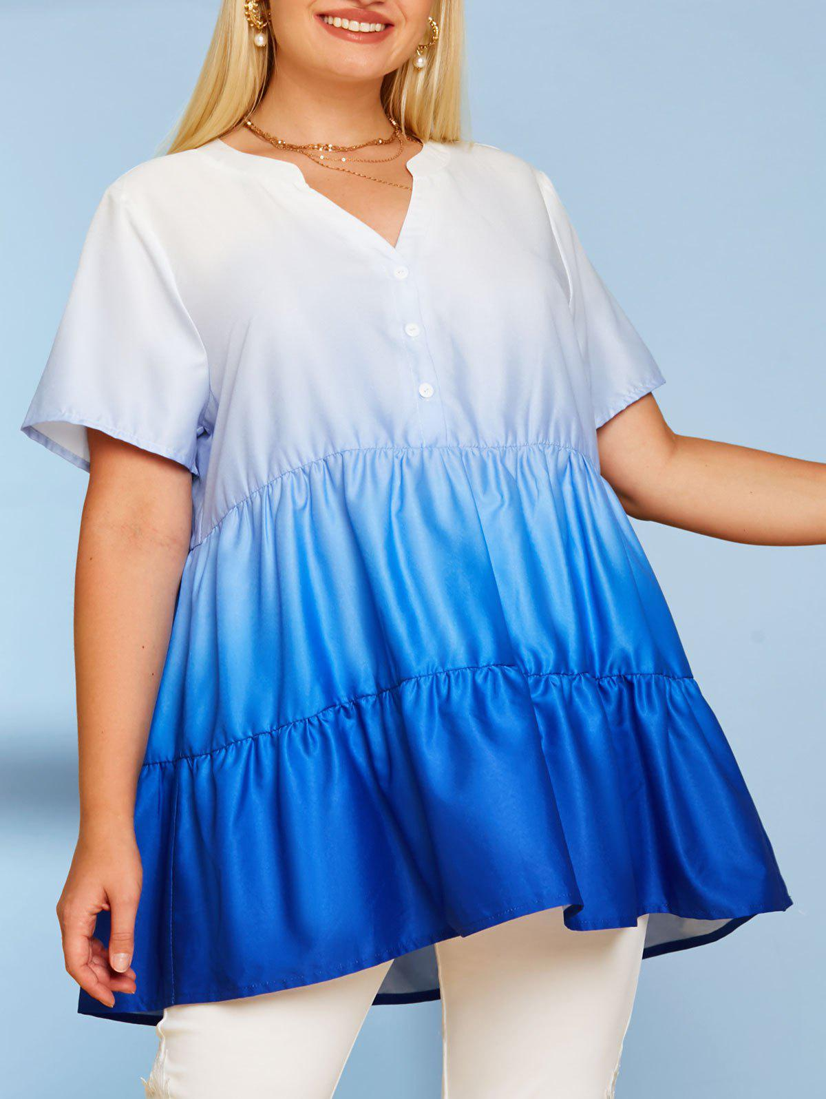 Shop Button Front Tiered Ombre Plus Size Top