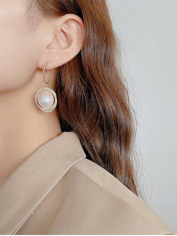 Faux Pearl Silver Needle Diamante Earrings - GOLDEN
