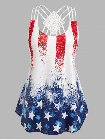 Plus Size Strappy American Flag Print Tank Top - MULTI - 4X