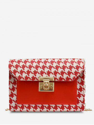 Houndstooth Print Spliced Crossbody Bag - RED