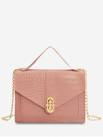 Faux Pearl Chain Envelope Crossbody Bag
