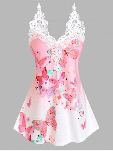 Lace Insert Floral Butterfly Print Tank Top