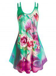 Plus Size Flower Butterfly Printed Dress -