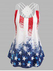 Plus Size Strappy American Flag Print Tank Top -