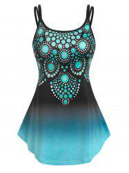 Plus Size Printed Ombre Color Tank Top -