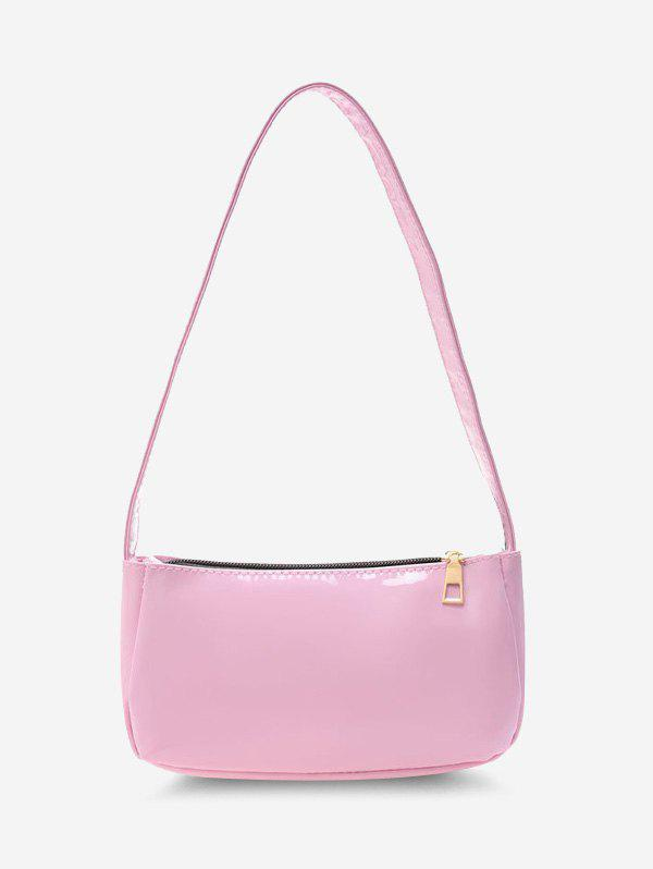 Outfit Solid Faux Patent Leather Shoulder Bag