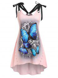 Plus Size Butterfly Print Tie Shoulder Irregular Tank Top -