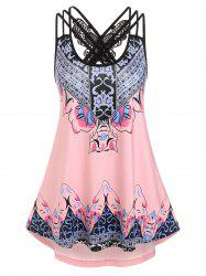 Bohemian Print Butterfly Lace Insert Strappy Tank Top -