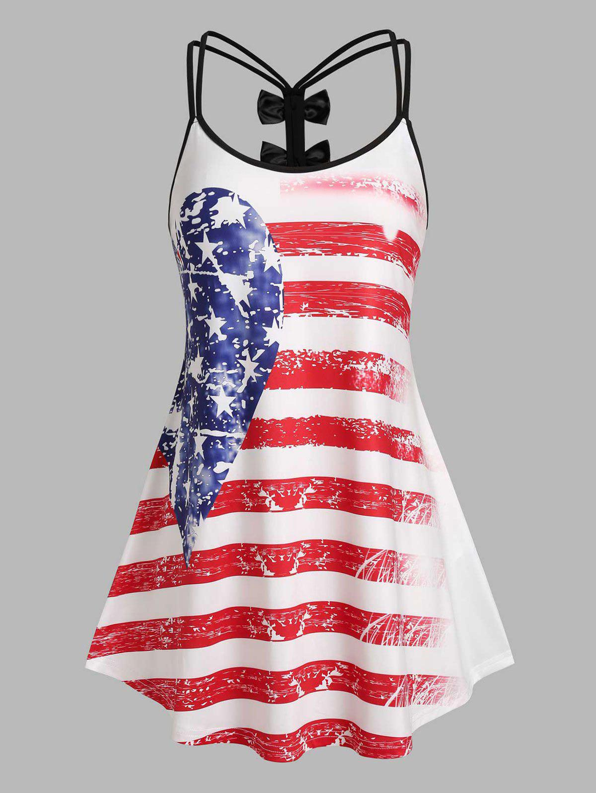 Cheap Plus Size American Flag Bowknot Dual Strap Skirted Tank Top