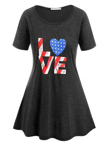 Plus Size American Flag Print LOVE Graphic Tee - DARK GRAY - 5X