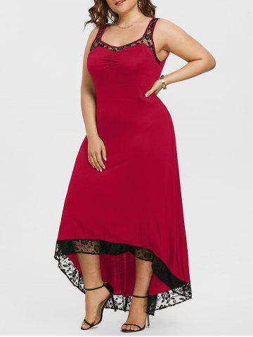 Plus Size High Low Maxi Party Dress - DEEP RED - 1X