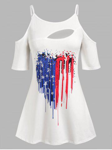 Plus Size Cold Shoulder Cutout American Flag Print Tee