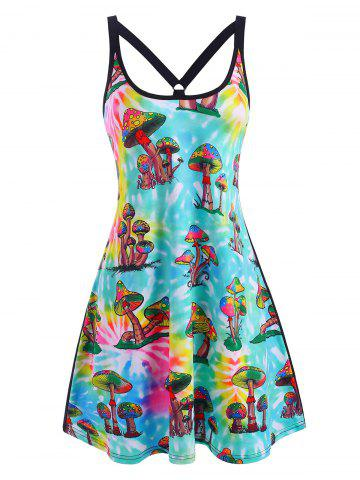 Mushroom Print Strappy O Ring Tank Dress