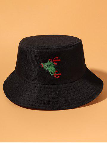 Frog Embroidered Casual Bucket Hat - BLACK
