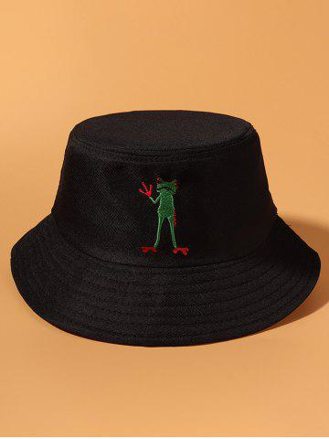 Standing Frog Embroidered Bucket Hat - BLACK