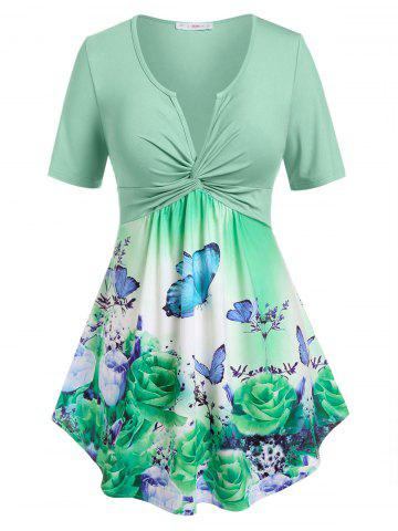 Plus Size Butterfly Print Twist Notched T Shirt - LIGHT GREEN - 2X