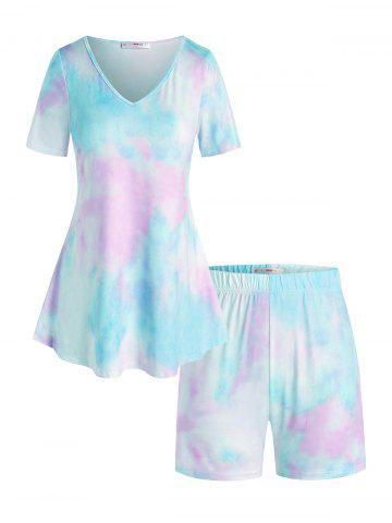 Plus Size Lounge Tie Dye V Neck Shorts Set - LIGHT BLUE - 3X