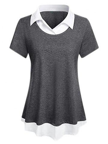 Plus Size Marled 2 In 1 Curved Hem Tunic Top - GRAY - XL
