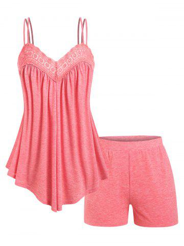 Plus Size Lace Panel Flowy Cami Top and Shorts Pajamas Set
