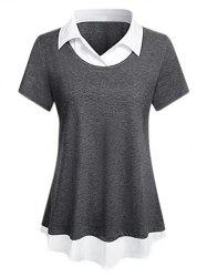 Plus Size Marled 2 In 1 Curved Hem Tunic Top -