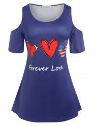Plus Size Cold Shoulder Graphic Tee -