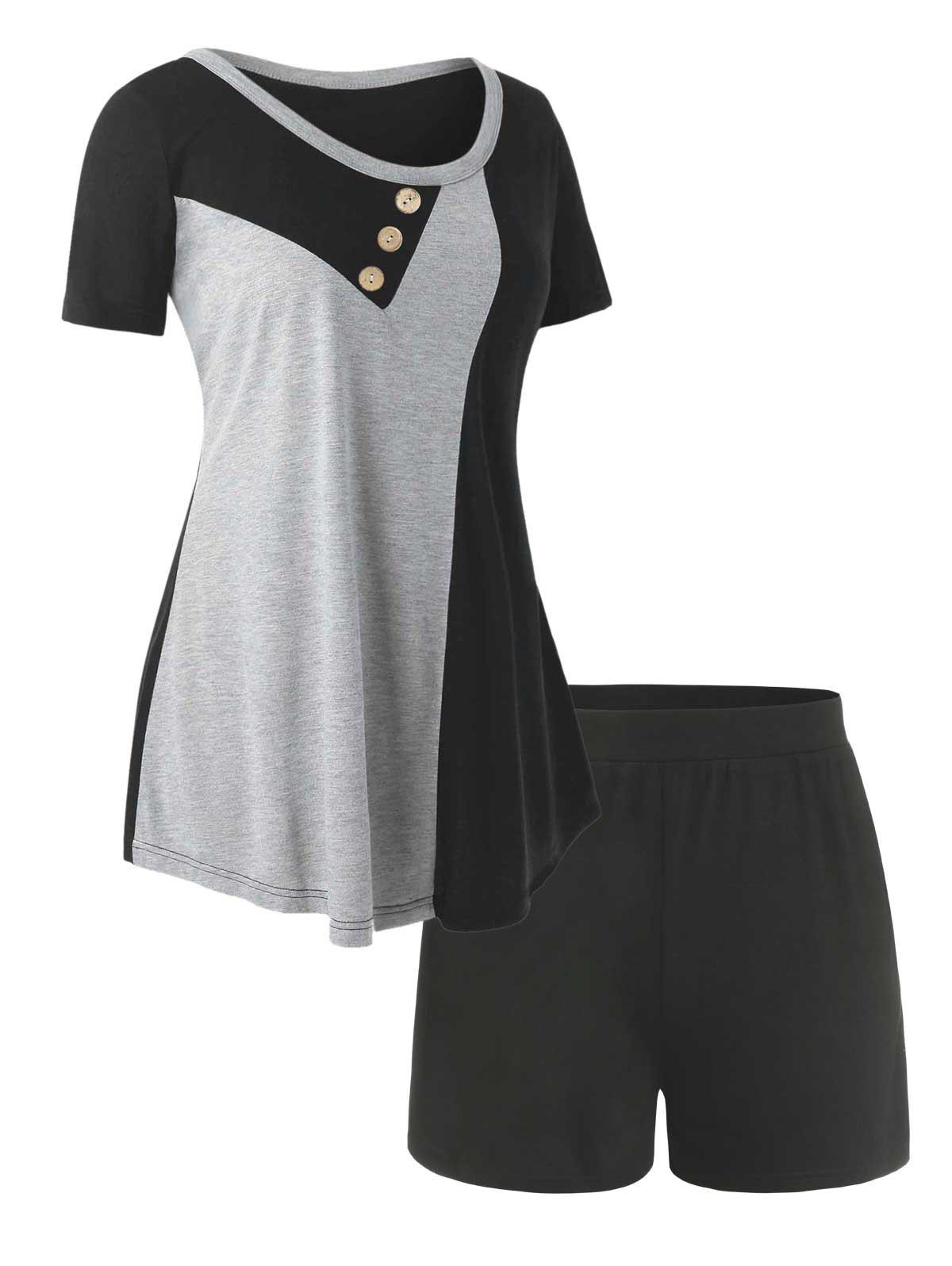 Outfit Plus Size Colorblock Tee and Shorts Pajamas Set