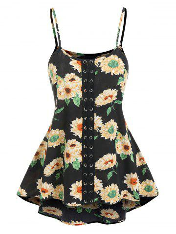 Lace Up Flower Print Cami Tank Top