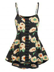 Lace Up Flower Print Cami Tank Top -