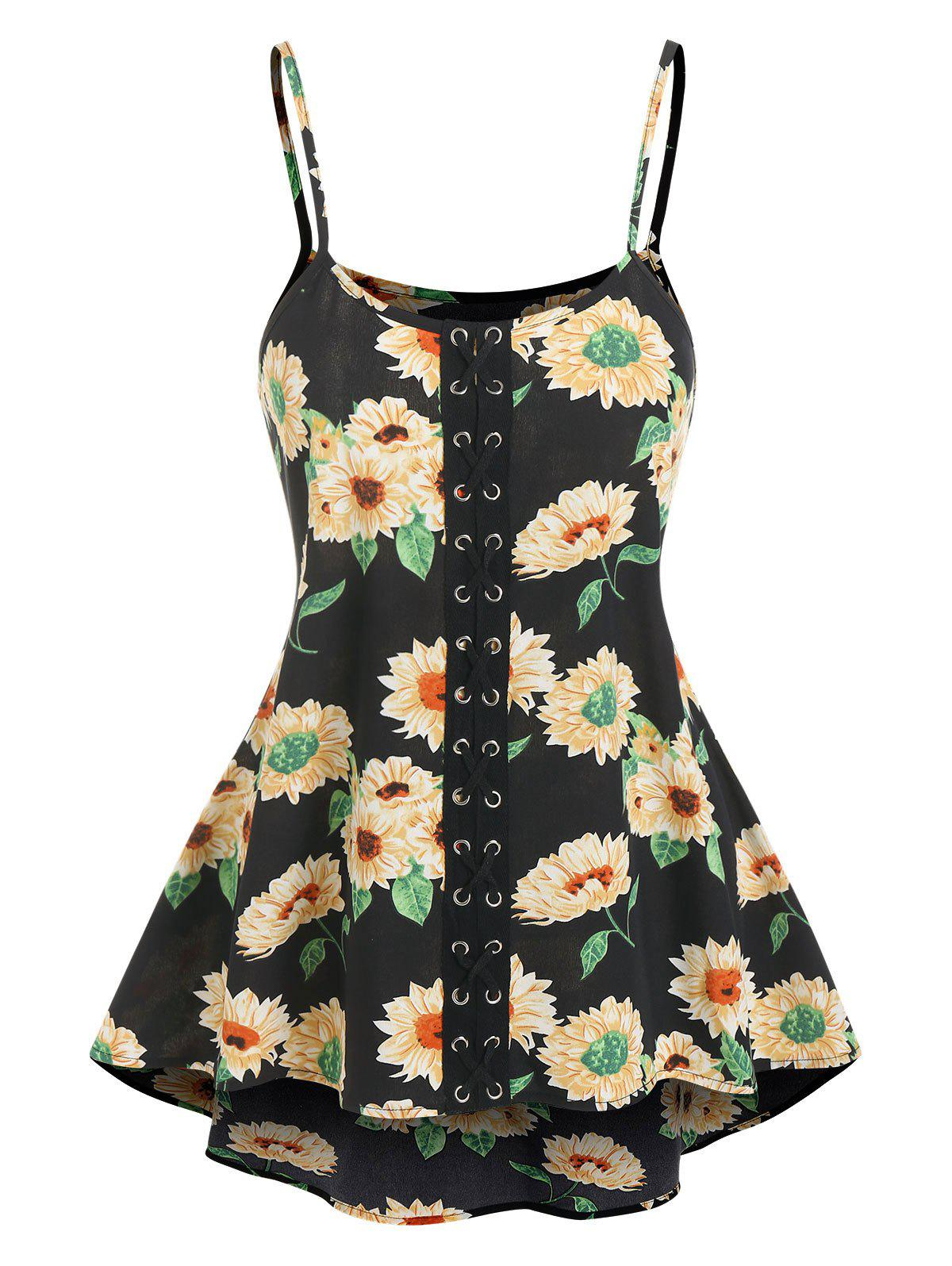 Affordable Lace Up Flower Print Cami Tank Top