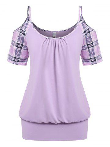 Plus Size Plaid Cold Shoulder Blouson Tunic T-shirt - LIGHT PURPLE - 1X