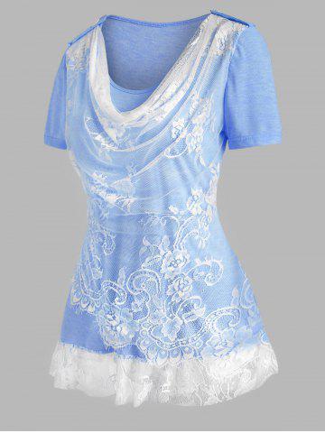 Lace Insert Cowl Front Ruffle Hem T Shirt - LIGHT BLUE - XXL