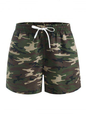 Camouflage Print Casual Elastic Waist Shorts