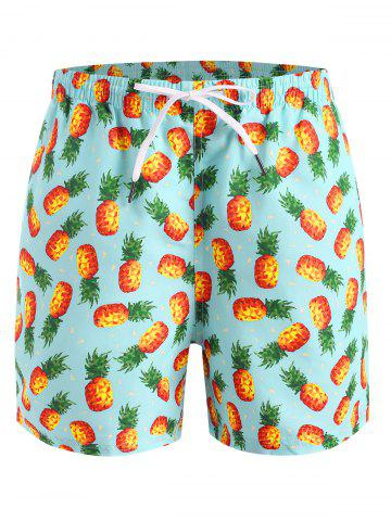 Shorts de Playa con Estampado de Piña - LIGHT GREEN - 2XL
