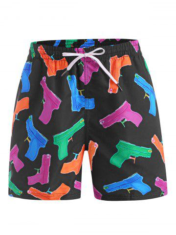 Cartoon Gun Print Drawstring Shorts - MULTI - 2XL