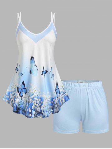 Plus Size Floral Butterfly Print Shorts Pajamas Set - LIGHT BLUE - 3X