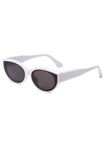 Oval Frame Wide Temple Sunglasses - WHITE