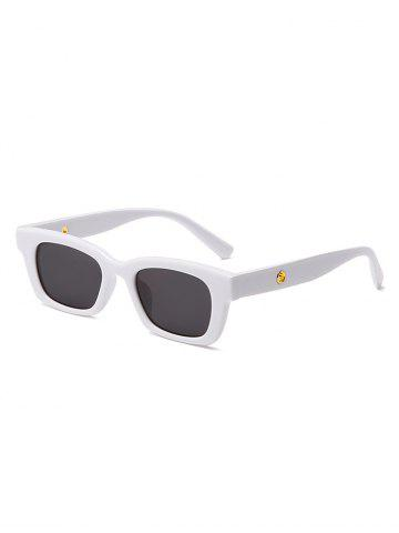 Rectangle Frame Wide Arm Sunglasses - WHITE