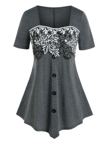 Plus Size Square Neck Floral Embroidery T Shirt - GRAY - 1X