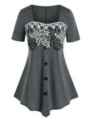 Plus Size Square Neck Floral Embroidery T Shirt -