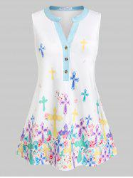 Plus Size Half Placket Floral Skirted Sleeveless Top -