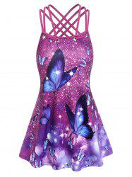 Strappy Butterfly Heart Print Tank Top -