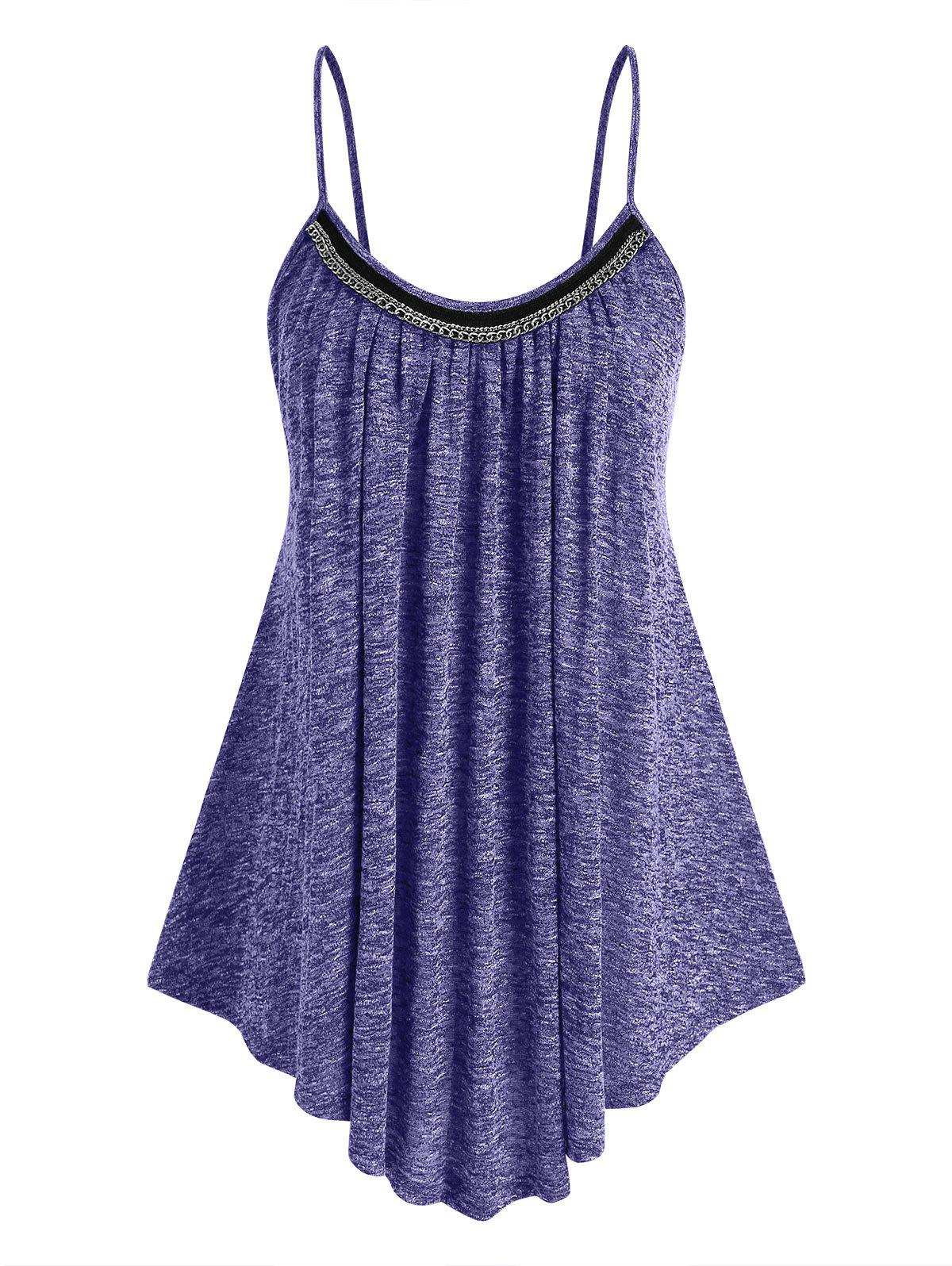 Affordable Plus Size Chains Heathered Swing Tank Top