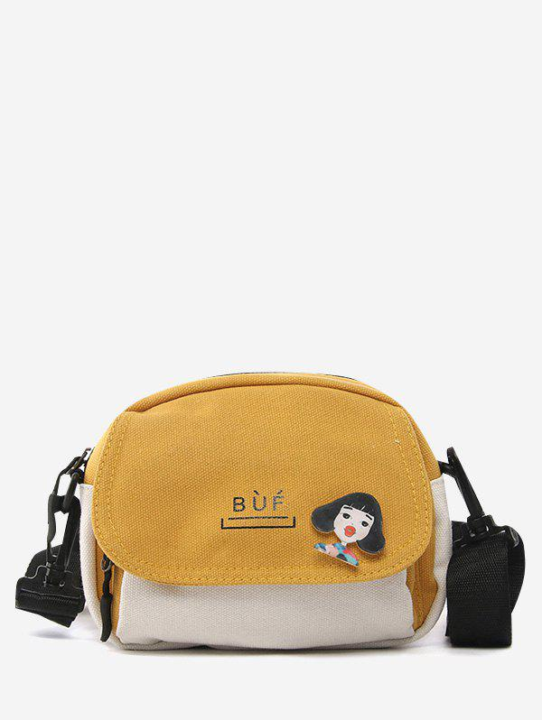 Outfits Colorblock Canvas Flap Crossbody Bag With Badge