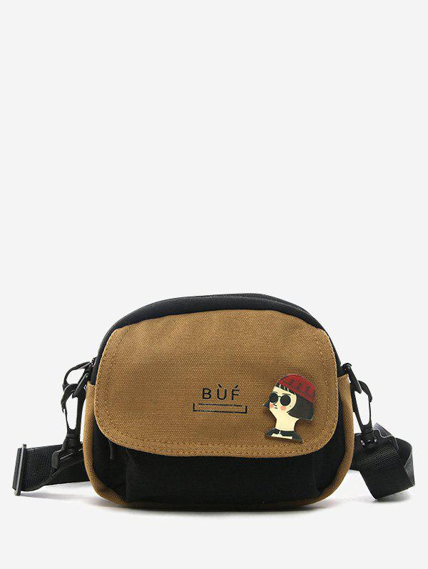 New Colorblock Canvas Flap Crossbody Bag With Badge